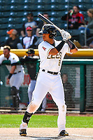 Quintin Berry (19) of the Salt Lake Bees at bat against the El Paso Chihuahuas in Pacific Coast League action at Smith's Ballpark on April 24, 2016 in Salt Lake City, Utah. This was Game 2 of a double-header.  Salt Lake defeated El Paso 6-5. (Stephen Smith/Four Seam Images)