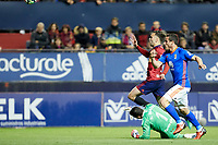 Rober Iba&ntilde;ez (medium; CA Osasuna) during the Spanish la League soccer match between CA Osasuna and Real Oviedo at Sadar stadium, in Pamplona, Spain, on Saturday, <br /> May 12, 2018.