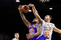 Saints&rsquo; BJ Anthony in action during the NBL - Cigna Saints v Hawkes Bay Hawks at TSB Arena, Wellington, New Zealand on Sunday 27 May 2018.<br /> Photo by Masanori Udagawa. <br /> www.photowellington.photoshelter.com