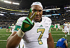 Oct. 5, 2013; Stephon Tuitt (7) celebrates the 37-34 Irish win in the Shamrock Series game against Arizona State.<br /> <br /> Photo by Matt Cashore