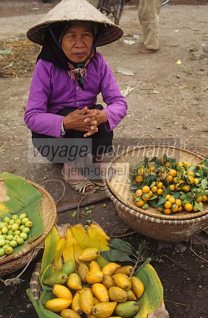 Asie/Vietnam/env d'Hanoi/Nhu Quynh: femme vendant des fruits sur le marché