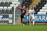 Pictured: Swansea cgairman Huw Jenkins (L) the team Woodyatt goalkeeper. Sunday, 01 June 2014<br />