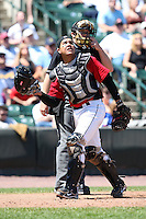 Rochester Red Wings catcher Jose Morales in the field during a game vs. the Louisville Bats Sunday, May 16, 2010 at Frontier Field in Rochester, New York.   Rochester defeated Louisville by the score of 4-3.  Photo By Mike Janes/Four Seam Images