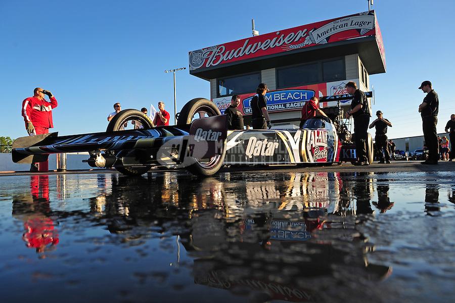 Jan. 19, 2012; Jupiter, FL, USA: NHRA top fuel dragster driver Shawn Langdon during testing at the PRO Winter Warmup at Palm Beach International Raceway. Mandatory Credit: Mark J. Rebilas-