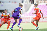 Orlando, FL - Saturday June 24, 2017: Maddy Evans, Morgan Brian during a regular season National Women's Soccer League (NWSL) match between the Orlando Pride and the Houston Dash at Orlando City Stadium.
