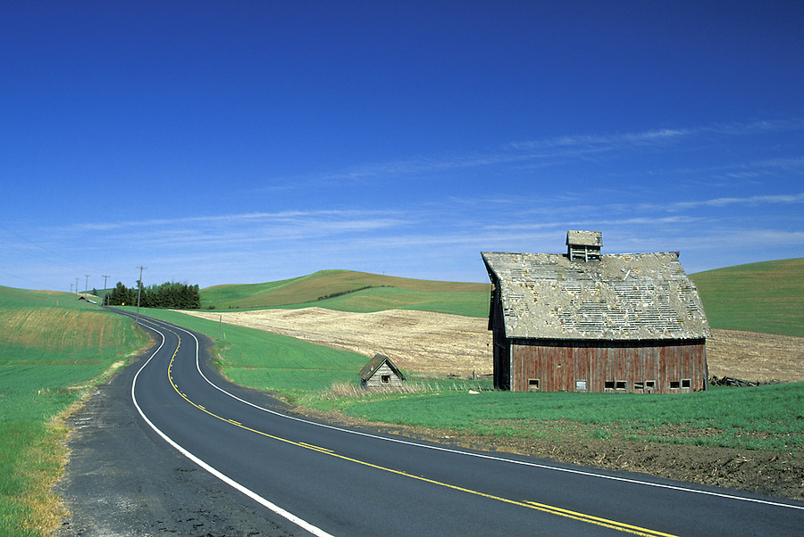 Old red barn beside road through countryside, Palouse area, Washington.