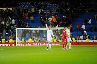 Real Madrid´s Jese Rodriguez and Raphael Varaneand Sevilla's Timothee Kolodziejczak during 2014-15 La Liga match between Real Madrid and Sevilla at Santiago Bernabeu stadium in Alcorcon, Madrid, Spain. February 04, 2015. (ALTERPHOTOS/Luis Fernandez) /NORTEphoto.com