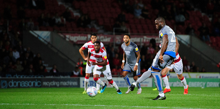 Lincoln City's John Akinde miss a second half penalty<br /> <br /> Photographer Chris Vaughan/CameraSport<br /> <br /> EFL Leasing.com Trophy - Northern Section - Group H - Doncaster Rovers v Lincoln City - Tuesday 3rd September 2019 - Keepmoat Stadium - Doncaster<br />  <br /> World Copyright © 2018 CameraSport. All rights reserved. 43 Linden Ave. Countesthorpe. Leicester. England. LE8 5PG - Tel: +44 (0) 116 277 4147 - admin@camerasport.com - www.camerasport.com