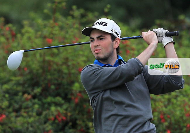 Eamonn O'Driscoll (FRA) on the 14th tee during R2 of the 2016 Connacht U18 Boys Open, played at Galway Golf Club, Galway, Galway, Ireland. 06/07/2016. <br /> Picture: Thos Caffrey | Golffile<br /> <br /> All photos usage must carry mandatory copyright credit   (&copy; Golffile | Thos Caffrey)