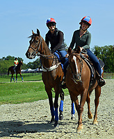 Bernardini's Arrow and LAUREN (left) and barn pony Lance with CAT