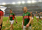 Dissapointed Mayo players Stephen Coen and Colm Boyle .<br />Pic Conor McKeown
