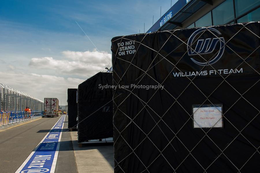 MELBOURNE, 11 March - Containers of the Williams F1 Team wait in pit lane ahead of the 2012 Formula One Australian Grand Prix at the Albert Park Circuit in Melbourne, Australia. (Photo Sydney Low / syd-low.com)