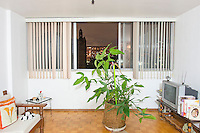 C-409 Rosalinda Sosa. The interior livingroom windows of apartments in the Chihuahua building of Tlatelolco. Mario Pani´s Tlatelolco, plaza de las 3 culturas, Mexico DF