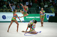 "Rhythmic group from Brazil performs hoops + clubs routine at 2008 World Cup Kiev, ""Deriugina Cup"" in Kiev, Ukraine on March 22, 2008."