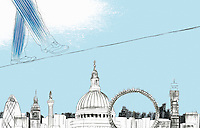 Businessman walking on tightrope above sights of London