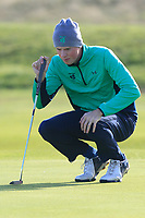 Mark Power from Ireland on the 11th green after Round 1 Foursomes of the Men's Home Internationals 2018 at Conwy Golf Club, Conwy, Wales on Wednesday 12th September 2018.<br /> Picture: Thos Caffrey / Golffile<br /> <br /> All photo usage must carry mandatory copyright credit (&copy; Golffile | Thos Caffrey)
