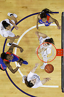 SEATTLE, WA - DECEMBER 18: Washington's #1 Hannah Johnson sets up under the basket for rebound against Savannah State.  Washington won 87-36 over Savannah State at Alaska Airlines Arena in Seattle, WA.