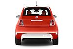 Straight rear view of a 2014 Fiat 500e 3 Door Hatchback Rear View  stock images