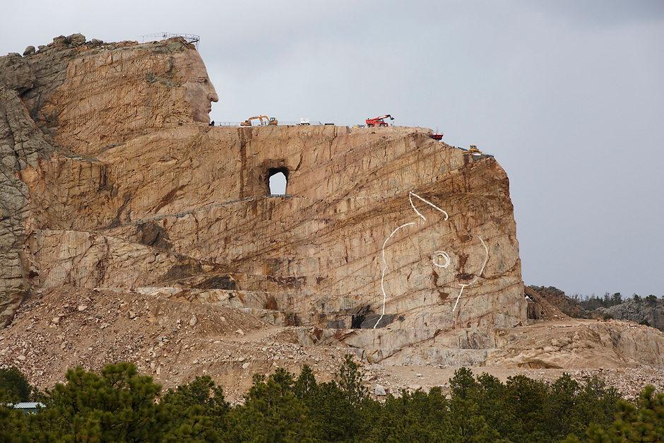 Work continues at the Crazy Horse Memorial in South Dakota on Sunday, May 21, 2017. (Photo by James Brosher)