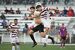 HOUSTON, TX - DECEMBER 11:  Bryce Marion (7) of Wake Forest University and Tomas Hilliard-Arce (4) of Stanford University compete for the ball during the Division I Men's Soccer Championship held at the BBVA Compass Stadium on December 11, 2016 in Houston, Texas.  Stanford defeated Wake Forest 1-0 in a penalty shootout for the national title. (Photo by Justin Tafoya/NCAA Photos via Getty Images)