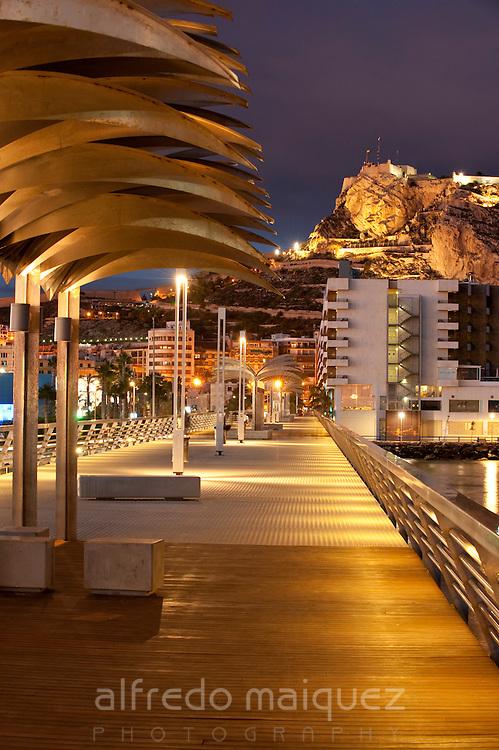 Harbour promenade and Santa Barbara castle. Alicante City, Valencian Community, Spain, Europe.
