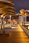 Harbour promenade and Santa Barbara castle. Alicante City, Valencian Community, Spain, Europe.