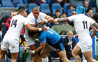 Rugby, Torneo delle Sei Nazioni: Italia vs Inghilterra. Roma, 14 febbraio 2016.<br /> England&rsquo;s Jonathan Joseph is challenged by Italy&rsquo;s Michele Campagnaro during the Six Nations rugby union international match between Italy and England at Rome's Olympic stadium, 14 February 2016.<br /> UPDATE IMAGES PRESS/Riccardo De Luca