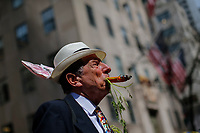 NEW YORK, NY - APRIL 16: A man takes part in the Annual Easter parade on April 16, 2017 in New York City.  The Easter Parade and Easter Bonnet Festival is characterized by revelers dressed in their holiday finery, which typically includes handmade hats, while they gather around St. Patrick's Cathedral to show their creations. Photo by VIEWpress/Eduardo MunozAlvarez