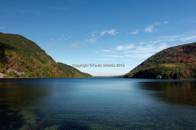 View of Long Pond in the Autumn, Acadia National Park, Maine, USA