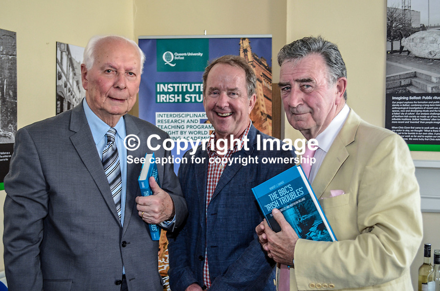 Robert J Savage, the author of &quot;The BBC's Irish Troubles&quot; with former BBC executives, Cecil Taylor, left, and Robin Walsh at the launch of his book in Belfast, N Ireland, 4th June 2014. Cecil Taylor was the first television journalist appointed by BBC-NI later holding the posts of regional news editor and head of programmes.  Walsh went on to became Editor of the Network Nine O'Clock News and later Controller NI. Savage, the author of a number of Irish-themed publications, is Professor of the Practice of History  at Boston College, Massachusetts, USA. 201506043895<br /> <br /> Copyright Image from Victor Patterson, 54 Dorchester Park, Belfast, UK, BT9 6RJ<br /> <br /> t1: +44 28 9066 1296<br /> t2: +44 28 9002 2446<br /> m: +44 7802 353836<br /> <br /> e1: victorpatterson@me.com<br /> e2: victorpatterson@gmail.com<br /> <br /> IMPORTANT: My Terms and Conditions of Business are at www.victorpatterson.com