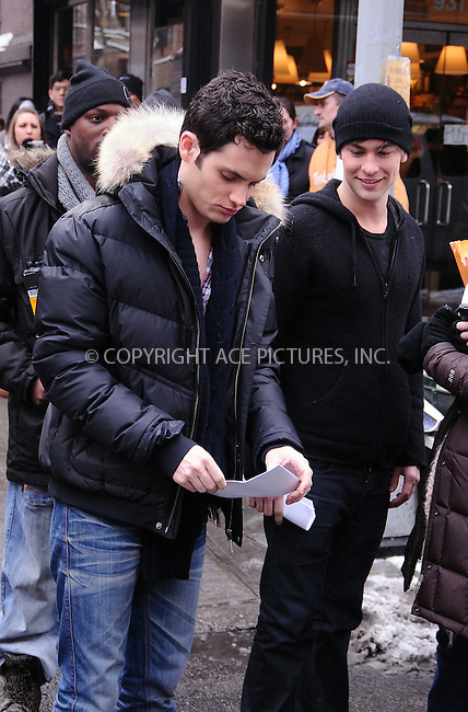 WWW.ACEPIXS.COM . . . . .  ....January 20 2009, New York City....Actors Penn Badgley and Chace Crawford  on the Manhattan set of the TV show 'Gossip Girl' on January 20 2009 in New York City....Please byline: AJ Sokalner - ACEPIXS.COM..... *** ***..Ace Pictures, Inc:  ..tel: (212) 243 8787..e-mail: info@acepixs.com..web: http://www.acepixs.com