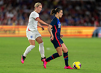 ORLANDO, FL - MARCH 05: Jordan Nobbs #10 of England pressures Carli Lloyd #10 of the United States during a game between England and USWNT at Exploria Stadium on March 05, 2020 in Orlando, Florida.
