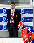 Sergey Petrenko (Russia - Coach), Maxim Kitsyn (Russia - 23) - Russia defeated Finland 4-0 at the Urban Plains Center in Fargo, North Dakota, on Friday, April 17, 2009, in their semi-final match during the 2009 World Under 18 Championship.