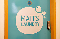 Pictured: A general view of Matt's Laundry room at Matthews House in Swansea, Wales, UK. Tuesday 03 March 2020