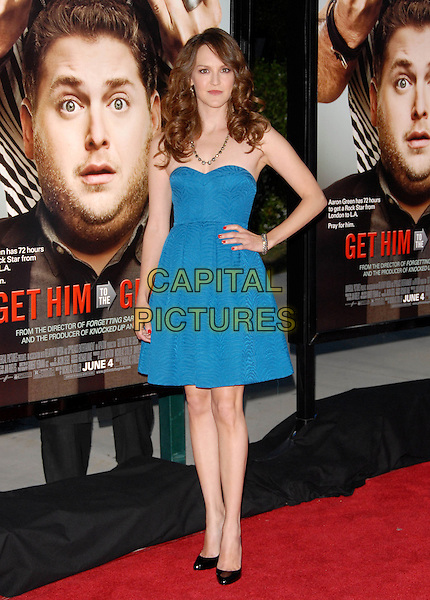 CARLA GALLO.L.A. Premiere of Get Him to The Greek held at The Greek Theatre in Los Feliz, California, USA..May 25th, 2010        .full length blue strapless dress black shoes hand on hip                                                        .CAP/RKE/DVS.©DVS/RockinExposures/Capital Pictures.
