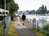 Henley Royal Regatta, Henley on Thames, Oxfordshire, 28 June - 2 July 2017.  Wednesday  08:44:50   28/06/2017  [Mandatory Credit/Intersport Images]<br /> <br /> Rowing, Henley Reach, Henley Royal Regatta.<br /> <br /> The controversial Barriers erected by Upper Thames Rowing Club on the Towpath outside Remenham Club.
