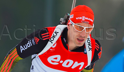 13.03.2016. Holmenkollen, Oslo, Norway. IBU Biathlon World Championships.  Arnd Peiffer of Germany in action  during the Men 15 km Mass Start Competition at the IBU World Championships Biathlon 2016 in Holmenkollen Oslo, Norway.