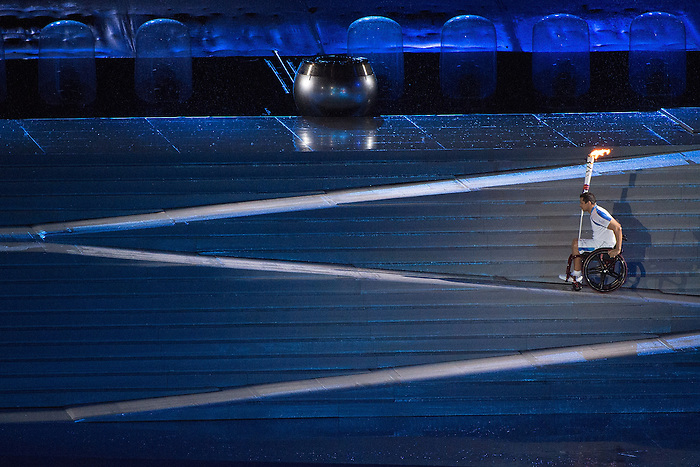 RIO DE JANEIRO - 7/9/2016:   Clodoaldo Silva  lights the torch at the Opening Ceremonies in Maracana at the Rio 2016 Paralympic Games. (Photo by Matthew Murnaghan/Canadian Paralympic Committee