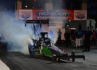 Jan. 17, 2013; Jupiter, FL, USA: NHRA top fuel dragster driver Leah Pruett during testing at the PRO Winter Warmup at Palm Beach International Raceway.  Mandatory Credit: Mark J. Rebilas-