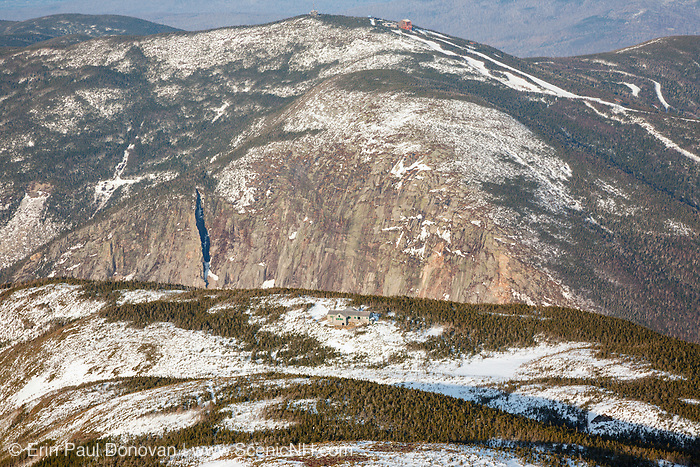 Cannon Mountain during the winter from Greenleaf Trail near the summit of Mount Lafayette in the White Mountains, New Hampshire USA. Greenleaf Hut is in the foreground.
