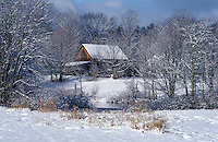 Contry barn in winter.