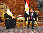 Egyptian President Abdel Fattah al-Sisi meets with King of Bahrain Hamad bin Issa al-Khalifa upon his arrival in Cairo, on June 8, 2017. Photo by Egyptian President Office