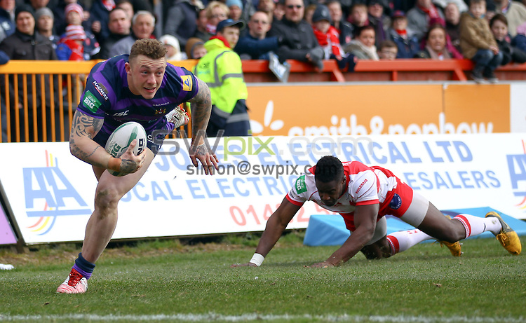 PICTURE BY ALEX WHITEHEAD/SWPIX.COM - Rugby League - Super League - Hull KR vs Wigan Warriors - MS3 Craven Park, Hull, England - 01/04/13 - Wigan's Josh Charnley runs in for a try.