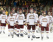 Paul Carey (BC - 22), Steven Whitney (BC - 21), Kevin Hayes (BC - 12), Bill Arnold (BC - 24), Patrick Wey (BC - 6), Isaac MacLeod (BC - 7), Johnny Gaudreau (BC - 13), Parker Milner (BC - 35) - The Boston College Eagles defeated the Merrimack College Warriors 4-2 to give Head Coach Jerry York his 900th collegiate win on Friday, February 17, 2012, at Kelley Rink at Conte Forum in Chestnut Hill, Massachusetts.