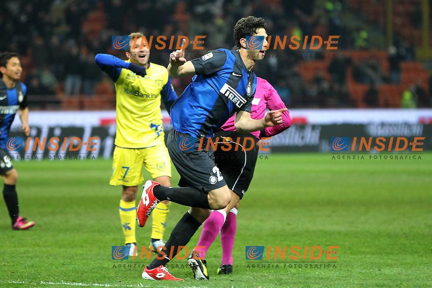 """Esultanza di Andrea Ranocchia Inter dopo il gol.goal celebration.Milano 10/02/2013 Stadio """"San Siro"""".Football Calcio Serie A 2012/13.Inter v Chievo Verona.Foto Insidefoto Paolo Nucci."""