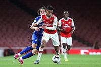 Tyreece John-Jules of Arsenal tries to shake off a challenge from Everton's Antony Evans during Arsenal Under-23 vs Everton Under-23, Premier League 2 Football at the Emirates Stadium on 23rd August 2019