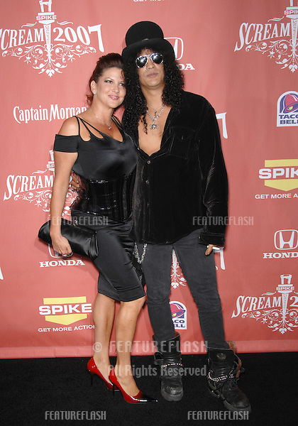 "Slash & wife Perla Ferrer at Spike TV's ""Scream 2007"" Awards honoring the best in horror, sci-fi, fantasy & comic genres, at the Greak Theatre, Hollywood..October 20, 2007  Los Angeles, CA.Picture: Paul Smith / Featureflash"