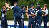 ICC World T20 Qualifier (Warm up match) - Canada V Western District Cricket Union select at Grange CC, Edinburgh - WDCU celebrate a wicket — credit @ICC/Donald MacLeod - 06.7.15 - 07702 319 738 -clanmacleod@btinternet.com - www.donald-macleod.com