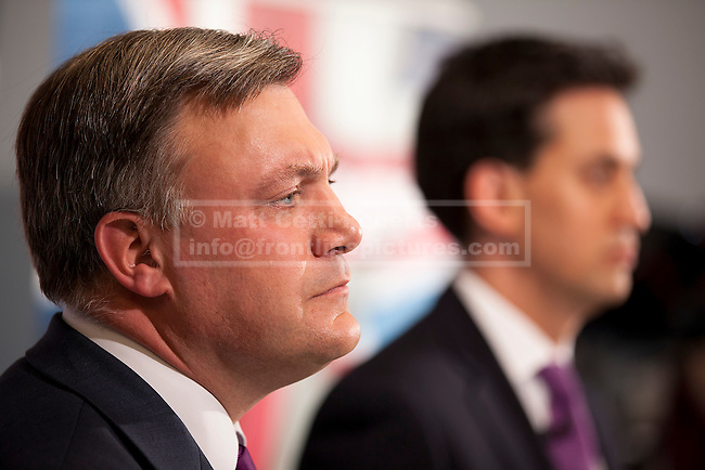 08/07/2012. LONDON, UK. Labour Leader, Ed Miliband (R), and the shadow chancellor, Ed Balls, answer questions after a talk on responsible banking at the Cooperative Bank in East London today (09/07/12). Photo credit: Matt Cetti-Roberts