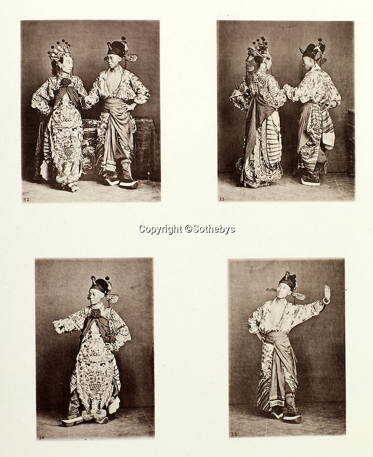 BNPS.co.uk (01202 558833)<br /> Pic: Sothebys/BNPS<br /> <br /> Actors from the Chinese theatre.<br /> <br /> Rare early photographs revealing what life in China looked like for the first time to the 19th century public have emerged 140 years after they were taken. <br /> <br /> The stunning collection - comprising 200 black and white photographs of Far East landscapes and wide-ranging personal portraits of everybody from rural peasants to senior government officials - was the first volume of photos from the region to ever be included in a travel book. <br /> <br /> Produced at a time when camera technology was still in its infancy, they were taken by celebrated Scottish photographer John Thomson between 1873 and 1874 during a 4,000-mile expedition across the country. <br /> <br /> And now one of the last remaining copies of the album still known to exist is set to go under the hammer at Sotheby's in London on November 7 with an estimate of £35,000.